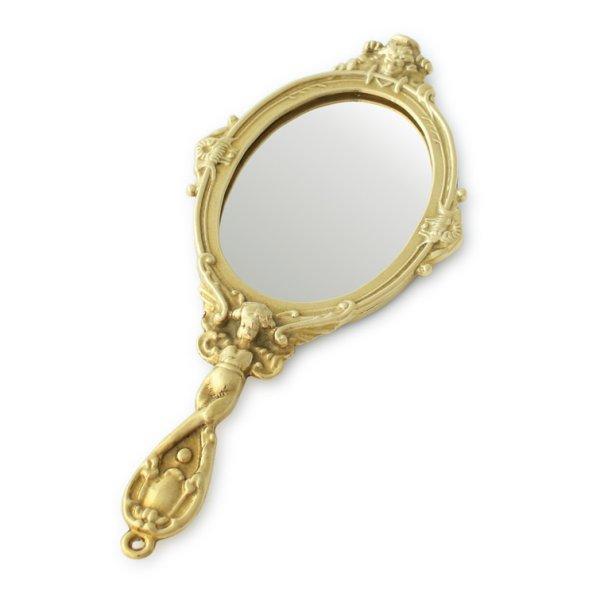画像1: イタリア直輸入 【ブラス ハンドミラー S】ヨーロピアン雑貨 真鍮 アンティーク 【手鏡】 オブジェ メイク道具 小物 金色 ゴールド コスメ 美容 (1)