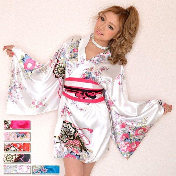 画像1: サテン和柄豪華花魁ミニ着物ドレス 和柄 よさこい 花魁 コスプレ キャバドレス パーティー (1)