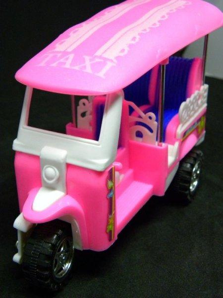 画像1: 【tuktuk】可愛いトゥクトゥク ミニカー ミニチュア アジアン雑貨 ピンク 【エスニック雑貨】THAILAND チョロキュー式 おもちゃ プレゼント (1)
