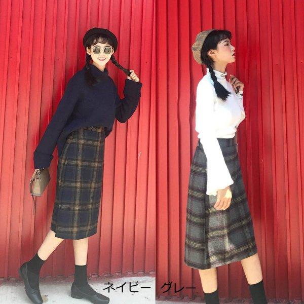画像1: 【メール便可】チェックスカート レディース ハイウエスト Aラインスカート ひざ丈 ボトムス (1)