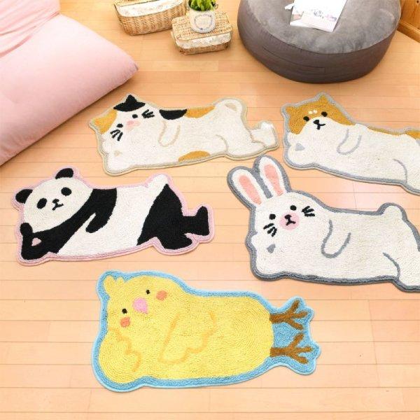 画像1: マット おそいねアニマル 可愛い 添い寝マット 動物マット フロアマット インテリア雑貨 (1)