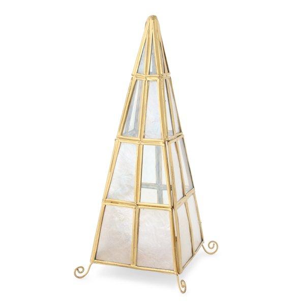 画像1: ピラミッド カピスLEDランプ 三角 間接照明 インテリア雑貨 LEDキャンドル付 (1)