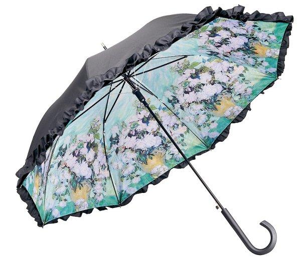 画像1: 【フリル傘】ゴッホ ホワイトフラワー 丈夫 雨具 晴雨兼用 (1)