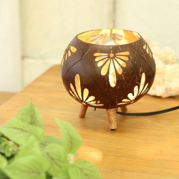画像1: ココナツランプ フラワー 幻想的 間接照明 インテリア雑貨  (1)