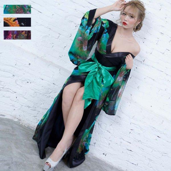 画像1: フラワープリント リボンつきロング着物ドレス 和柄 よさこい 花魁 コスプレ キャバドレス (1)