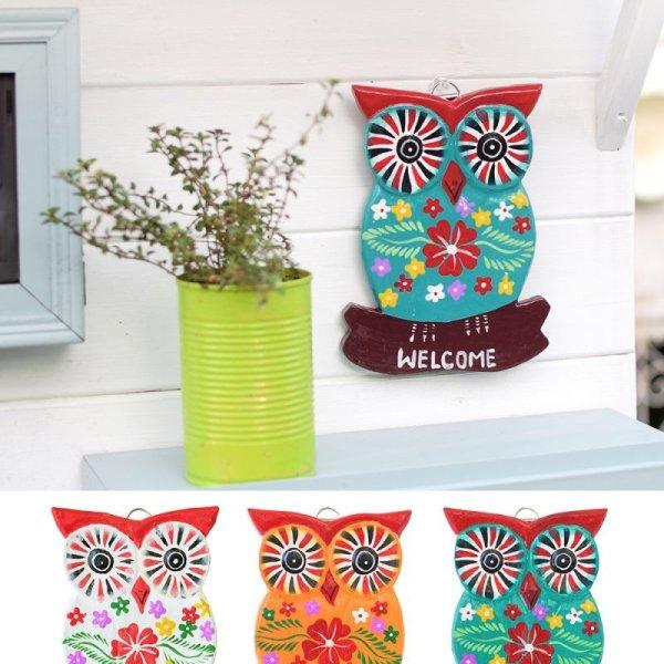 画像1: WELCOMEボード フクロウ 壁掛けオブジェ 置物 インテリア雑貨 アジアン雑貨 ふくろう ミミズク (1)