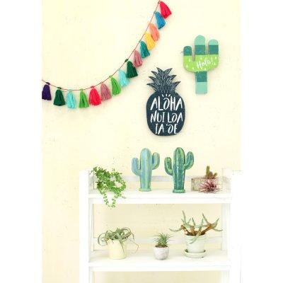画像1: サボテンオブジェ メキシカン エスニック雑貨 観葉植物 置物 木製 20cm