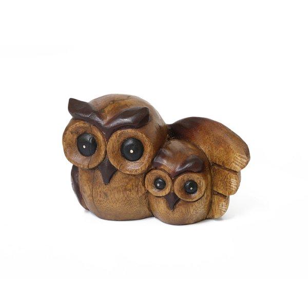 画像1: 親子フクロウ 羽抱え ふくろう ミミズク 置物 タイ雑貨 アジアン雑貨 インテリア 福を呼ぶ 玄関オブジェ (1)