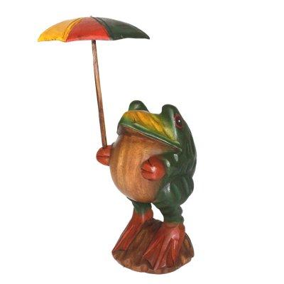 画像2: 傘さしカエル L タイ雑貨 アジアン雑貨 インテリア 置物 かえる 玄関 高35cm