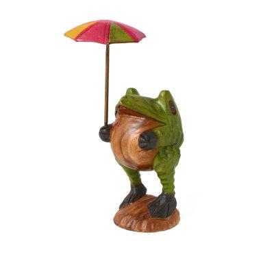画像1: 傘さしカエル L タイ雑貨 アジアン雑貨 インテリア 置物 かえる 玄関 高35cm