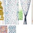 画像1: のれん ブロックプリント インド 伝統柄 暖簾 インテリア雑貨 間仕切り カフェ 店舗装飾 (1)