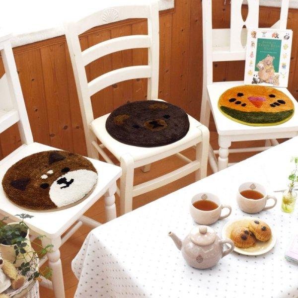 画像1: アニマル チェアパッド シバイヌ クマ インコ インテリア雑貨 椅子カバー  (1)