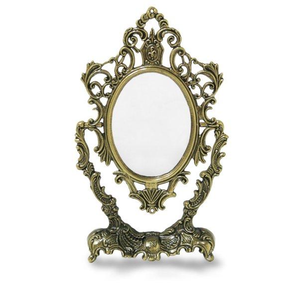 画像1: プリンセスミラー S ヨーロピアンテイストイタリアザマック スタンドミラー【真鍮】 アンティーク調  鏡 メイク道具 小物  (1)