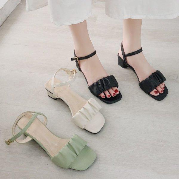 画像1: 上品 サンダル レディース アンクルベルト 靴 太ヒール ハイヒール ストラップ 春夏 歩きやすい  (1)