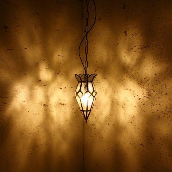 画像1: アイアンガラス シーリングランプ ハンギング エキゾチック 照明 ペンダントライト 間接照明 (1)