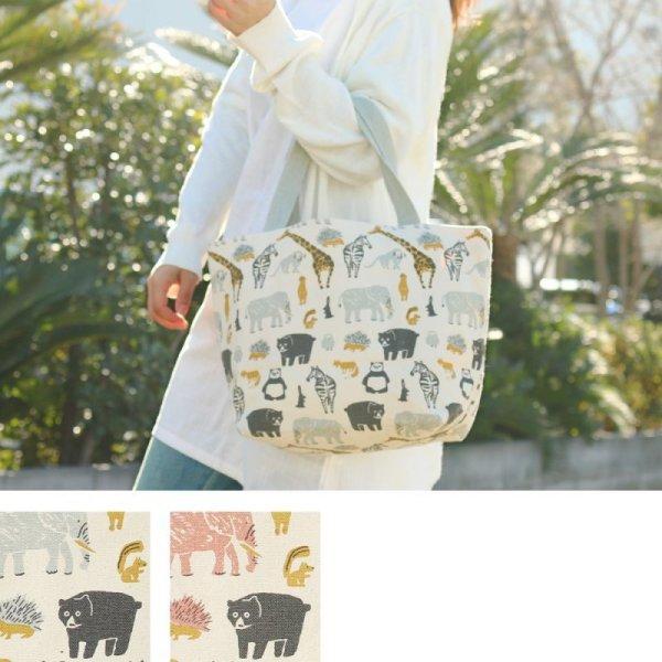 画像1: キャンバスバッグ L サファリアニマルデザイン 鞄 バッグ どうぶつ柄 キャンバス生地 ランチトート (1)