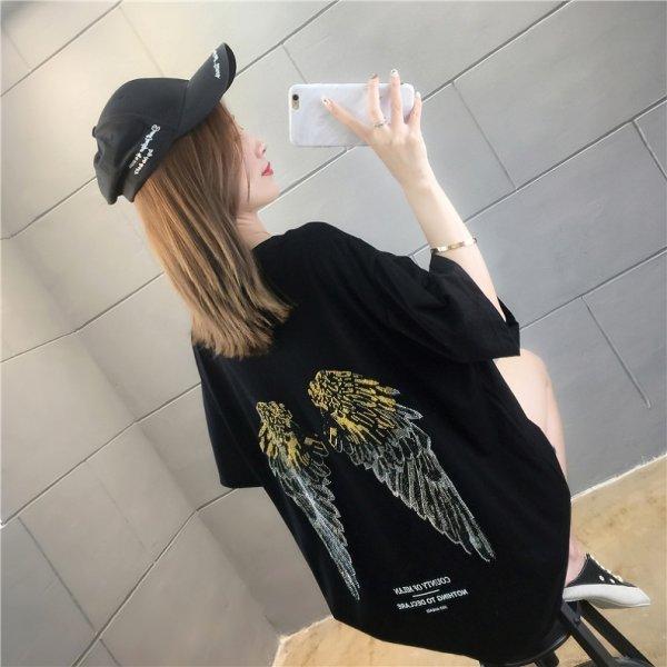 画像1: 羽デザイン 大きいサイズ 韓国 レディース ファッション Tシャツ  (1)