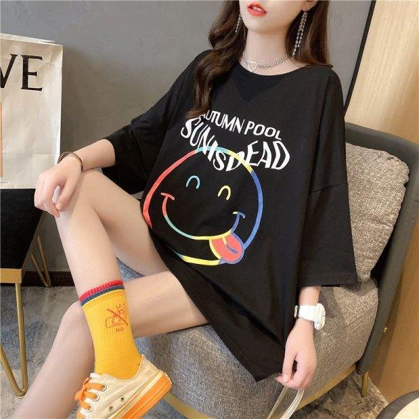 画像1: 大きいサイズ スマイル 笑顔  レディース ファッション Tシャツ LL-4L (1)