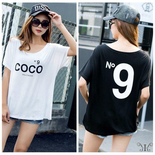 画像1: 大きいサイズ ドルマン N9プリント COCOロゴ HOLLYWOOD大人気 Tシャツ F 4L~6L (1)