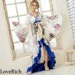 画像8: サテン和柄フリルロング着物ドレス 衣装 ダンス よさこい 花魁 コスプレ キャバドレス (8)