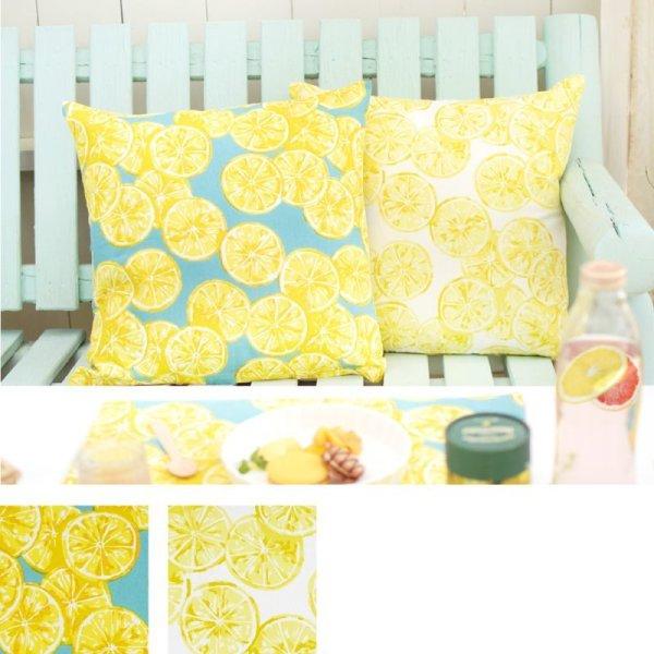 画像1: クッションカバー レモン フルーツ柄 クッションカバー インテリア小物 雑貨  (1)