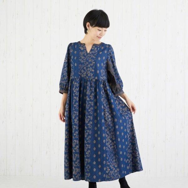 画像1: 【PORINA】ワンピース デニモハール ブロックプリント デニム アジアン衣料 エスニック  (1)