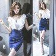 画像4: 大きいサイズ フリルデザイン セクシータイトスカート ぽっちゃり ミニワンピ ホワイト×ブルー ワンピース 2L3L4L5L (4)