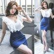 画像1: 大きいサイズ フリルデザイン セクシータイトスカート ぽっちゃり ミニワンピ ホワイト×ブルー ワンピース 2L3L4L5L (1)