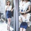 画像6: 大きいサイズ フリルデザイン セクシータイトスカート ぽっちゃり ミニワンピ ホワイト×ブルー ワンピース 2L3L4L5L (6)