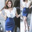 画像8: 大きいサイズ フリルデザイン セクシータイトスカート ぽっちゃり ミニワンピ ホワイト×ブルー ワンピース 2L3L4L5L (8)