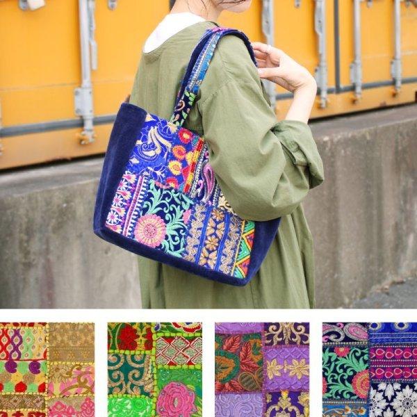 画像1: カンバディアパッチ トートバッグ インド伝統柄 刺繍 エキゾチック 鞄  (1)