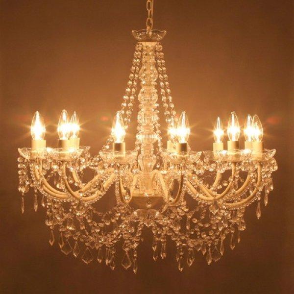 画像1: LED電球対応 豪華絢爛 12灯シャンデリア アンティーク調 ノックダウン オペラ クリーム 内装 インテリア (1)