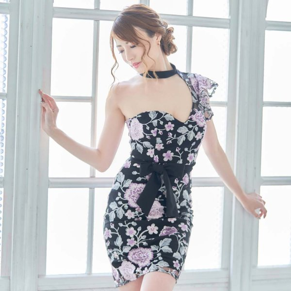 画像1: 花柄刺繍 ワンショルダー アシンメトリー ミニドレス ワンショル タイトスカート 衣装 リボン キャバドレス (1)