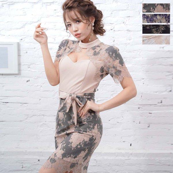 画像1: 胸元セクシー レース ミニドレス 衣装 パーティードレス クリスマス キャバドレス (1)
