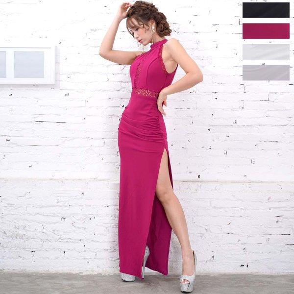 画像1: 足魅せ セクシースリット 透けレース ロングドレス 衣装 パーティードレス キャバドレス (1)