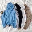 画像10: フード付き ニットトップス レディース Vネック ニットセーター 長袖 シンプル (10)