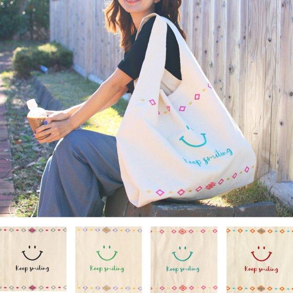 画像1: マルシェバッグ オルテガ スマイル  Lバッグ 刺繍スマイル 笑顔 お出かけ 大容量 (1)