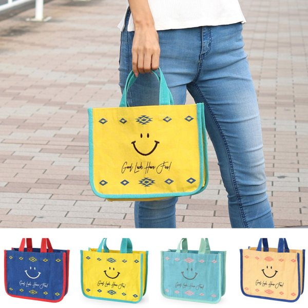 画像1: かどまるミニトート スマイルレター バッグ 刺繍スマイル 笑顔 ミニトートバッグ ランチトート  (1)