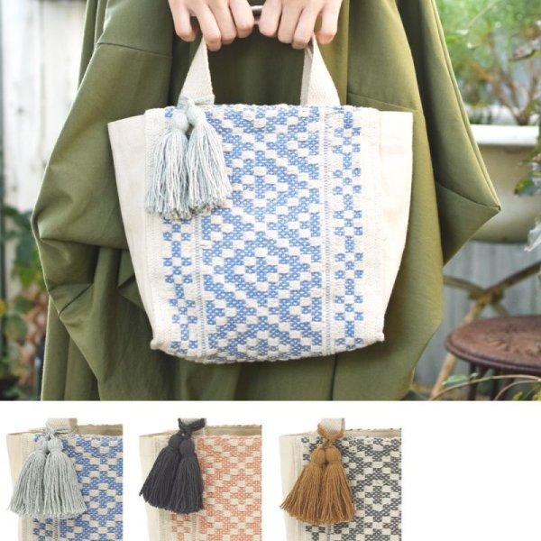 画像1: スクエアトート オルテガ タッセル付き 鞄 ミニトートバッグ  ボヘミアン調 マリンテイスト (1)
