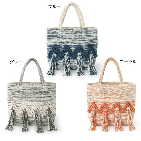 画像1: バッグS ボールジャカード ミニトートバッグ 個性派 オシャレ 鞄 エスニック調 ランチトート (1)