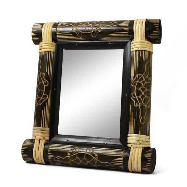 画像1: バンブーミラー 竹製 ナチュラルミラー 鏡 アジアン雑貨 インテリア (1)