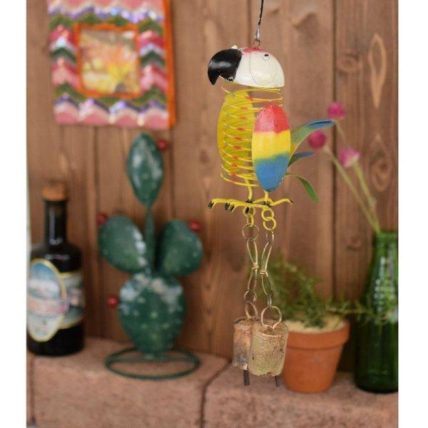 画像1: ブリキベル スプリングバード オウム 壁掛けインテリア ベル チャイム オブジェ 鳥雑貨 (1)