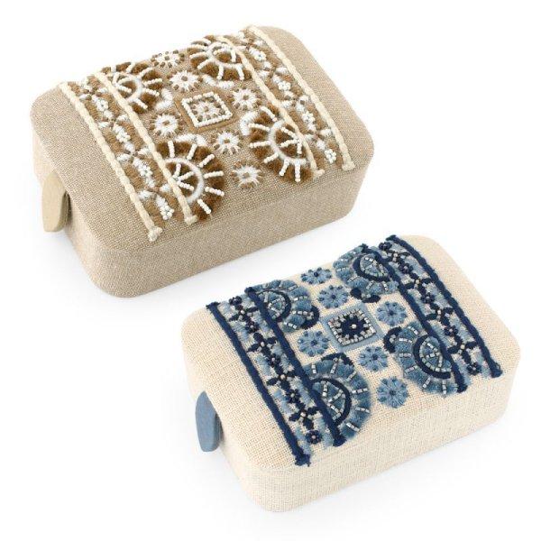 画像1: ビーズボックス L フォークロア 刺繍 アクセサリー入れ 小物入れ 腕時計 ギフトボックス (1)