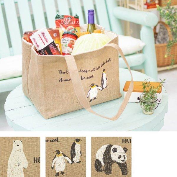 画像1: ジュートレジかごバッグ  パンダ ペンギン シロクマ 動物デザイン 大容量 エコバッグ  (1)